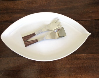 Vintage Salad Serving Set Stainless Steel - Retro Kitchen -