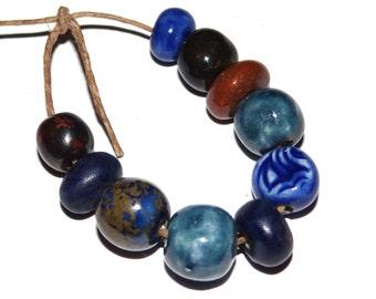 10 Ceramic Bead Set Stoneware Handmade Pottery Beads Navy