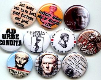 "Titus Livius LIVY Ancient Roman Historian History of Rome 10 Pinback 1"" Buttons Badges Pins"