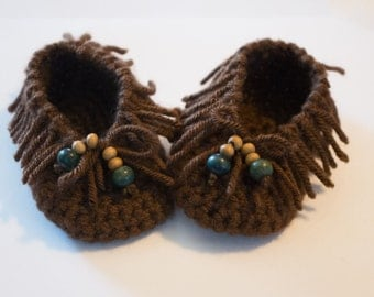 Crochet Baby Moccasins - Crochet Fringe Booties -  Color Choices Available - Baby Moccasin Booties