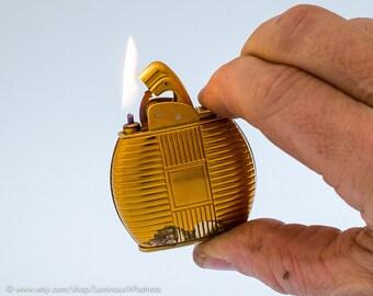 Working 1940s Art Deco Oval Evans 'Golden Prince' Automatic Pocket Lighter