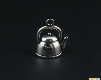 20Pcs Antique Silver Pot Charm Kettle Pendant Teapot Charm 19x17mm (PND1248)