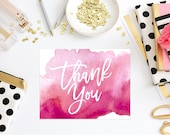 Instant Download - Pink Watercolor Folded Note Card