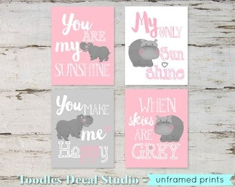 Hippo Wall Art, Pink and Grey Nursery Decor, Charlie Hippo Prints, You Are My Sunshine Hippo Art, 4-8x10 Prints only, Girls Nursery Room Art