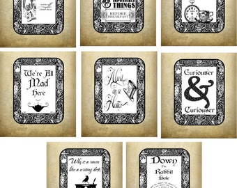 Alice in Wonderland tea bag envelope tea party set of 8