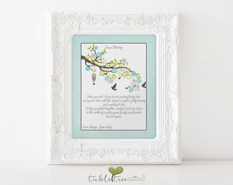 Baby Shower Nursery Keepsake Sign (Instant Download/Printable) - Tree Branches/Birds/Baby Boy/Garden/Mommy to Be (Style 13074)