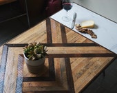 Cain - Reclaimed Wood COFFEE TABLE w/ Marble Inlay - MidCentury/Modern