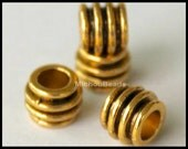 BULK 25 ANTIQUED Gold Large Hole 8x6mm Beads - 8mm Tibetan Style Spacer Bead w/ Large 4mm Hole - Nickel Free Barrel - USA Wholesale - 5506