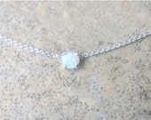 Genuine Opal (October Birthstone) 4mm choker necklace in Sterling Silver or Gold