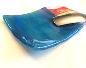 SHINY BLUE & PURPLE TeaBag / Spoon Rest - Kitchen Dish Fused Glass