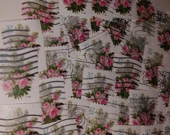 50 Love postage stamps Valentines day pink flower bouquet used cancelled ephemera paper supplies vintage paper supplies