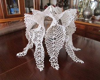 Doilies Vintage Doily Runner Crocheted Lace Tablecloth  Crochet Detail Hand Octopus Crochet Detail Hand Star White Lace Crochet Tablecloth.