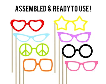 Glasses Photo Booth Props . Set of 8 . Wedding Photo Booth . Bachelorette Photo Boot Props . Birthday Photo Booth