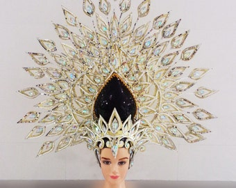 Asian Gold Lotus Queen Vegas Showgirl Pageant Headdress