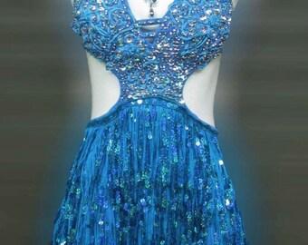 Blue Burlesque Salsa Latin Showgirl Stage Queen Dance Dress