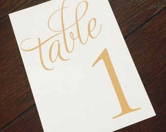 Wedding Table Numbers - Gold Wedding Table Numbers - Elegant Wedding Table Numbers - Reception Tables