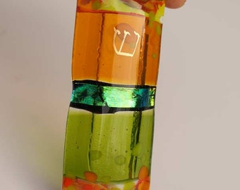 Fused glass mezuzah green dichroic glass, orange, green with gold painted Shin