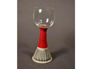 Ceramic Wine glass  Pottery Wine Glass with handmade stoneware stem