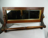 Vintage Wood Shaving Mirror with Towel Bars, Bathroom Mirror, Entry Mirror, Vanity Mirror Home Decor