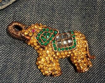Rhinestone Elephant Brooch Vintage Jewelry Rhinestones
