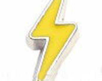 Yellow Lightning Bolt Charm/Pearl Jam Tour/Weather/Memory Locket Necklace/Sports Team