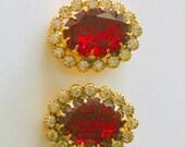 red glass  clip earrings