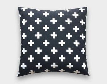 Black Plus Sign Throw Pillow Cover. 16X16 Inches. Black and White Decorative Cushion Cover.