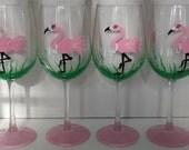 Girly Flamingo hand painted wine glasses