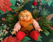 """Vintage Christmas Elf Doll 1983 by """"Dakin"""" - 12"""" from tip of cap to toe of red boots, soft stuffed, plastic head/face, faux fur red beard"""