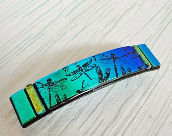 "Medium Dichroic Fused Glass Barrette, 3-1/4"" Green Blue Dragonfly Hair Barrette, French Barrette, Gifts For Her Under 30 Dollars"