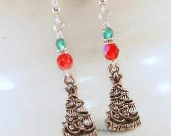 Christmas Tree Earrings, Christmas Beaded Earrings. Christmas Dangle Pierced or Clip-on Earrings, OOAK Handmade Earrings, CKDesignsUS