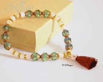 Tassel Beaded Bracelet,  Czech Glass Beaded Bracelet, Tassel Beaded Stretchy Bracelet. OOAK Handmade Bracelet. CKDesigns.US