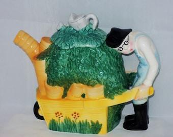 Vintage Gardener & Wheelbarrow Teapot Roy Simpson for J Luber