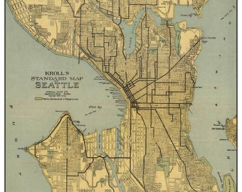 Vintage Map of Seattle, Washington, digital download