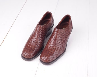 Vintage Cole Haan Brown Woven Leather Booties, Womens 6 / ITEM287