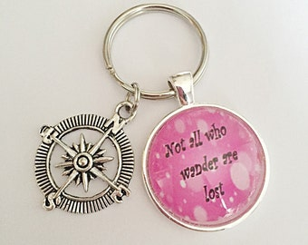 Not All Who Wander Are Lost - Compass Keyring - Glass Keyring - Travel Keyring - Quote Keyring - Travellers Jewelry - Gift For Her