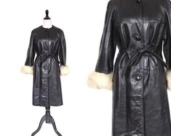 Vintage 1960's Black Leather and White Fur Trim Coat Size Medium