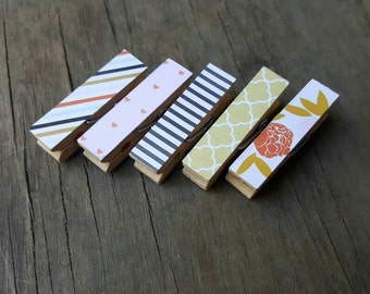 Fridge Magnets. Roses and Stripes. Small Clothespins.  Chunky Clothespins. Magnetic Clips. Bridal Favors. Gifts for Friends.