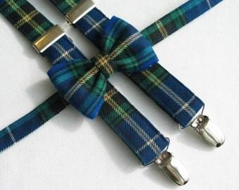 Nova Scotia Tartan Bow Tie and Suspenders, Nova Scotia Little Boy Clothing, NS Toddler Wedding Bow Tie, Blue Nova Scotia Tartan Man Braces