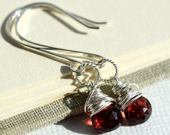 Red Garnet Earrings, Red Gemstone Earrings, January Birthstone, Sterling Earrings, Dark Red Earrings, Burgundy Earrings, Wire Wrapped