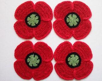 Crocheted Poppy flowers coasters. set of 4.