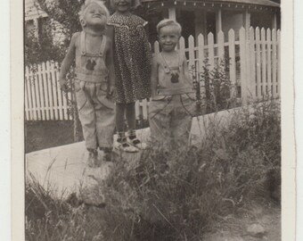 Vintage/Antique adorable photo of 2 little boys and a girl