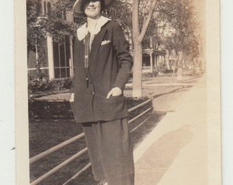 Vintage/Antique  photo of a woman in pant suit with a safari style hat