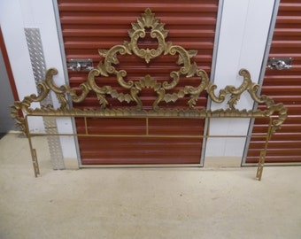 LOCO FOR ROCOCO / Gorgeous Golden Iron King Size Rococo Headboard / Hollywood Regency