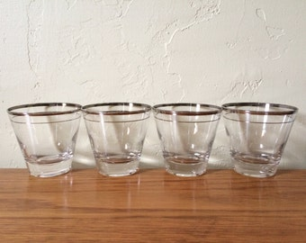 Vintage Silver Rim Cocktail Glasses Set of 4 Mad Men Mid Century Whiskey Glasses Scotch Glasses Rocks Lowballs Silver Stripe Barware
