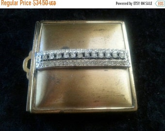 Christmas In July Sale 1940's 1950's Vanity Rhinestone Compact Mid Century Home Decor Movie Play Prop Mad Men Mod Hollywood Regency Rockabil