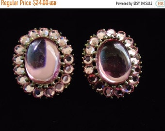 Christmas In July Sale Vintage Pink Rhinestone Earrings Mad Men Mod Hollywood Regency Jewelry