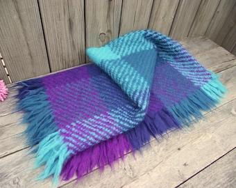 Avoca Irish Wool Handwoven Throw Blanket - Purple & Turquoise - Ireland Fringed - County Wicklow - Gorgeous Amethyst Turquoise Shades