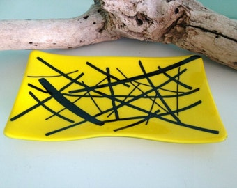 Yellow and Black Fused Glass Wave Platter