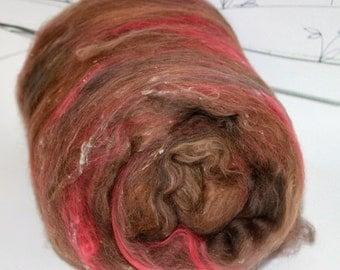 Wooly Batts hand carded art batt, felting fibers, merino wool roving batt in Mushroom, brown and red felting fibers, batt for spinning,